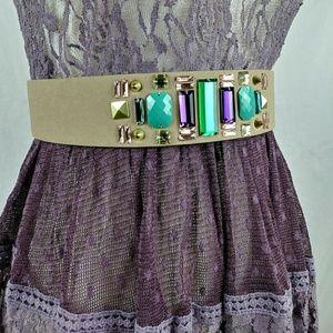 🌷H & M Rhinestone 80s snap back elastic belt